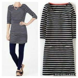 Boden 3/4 Sleeve Breton Navy Striped Tunic